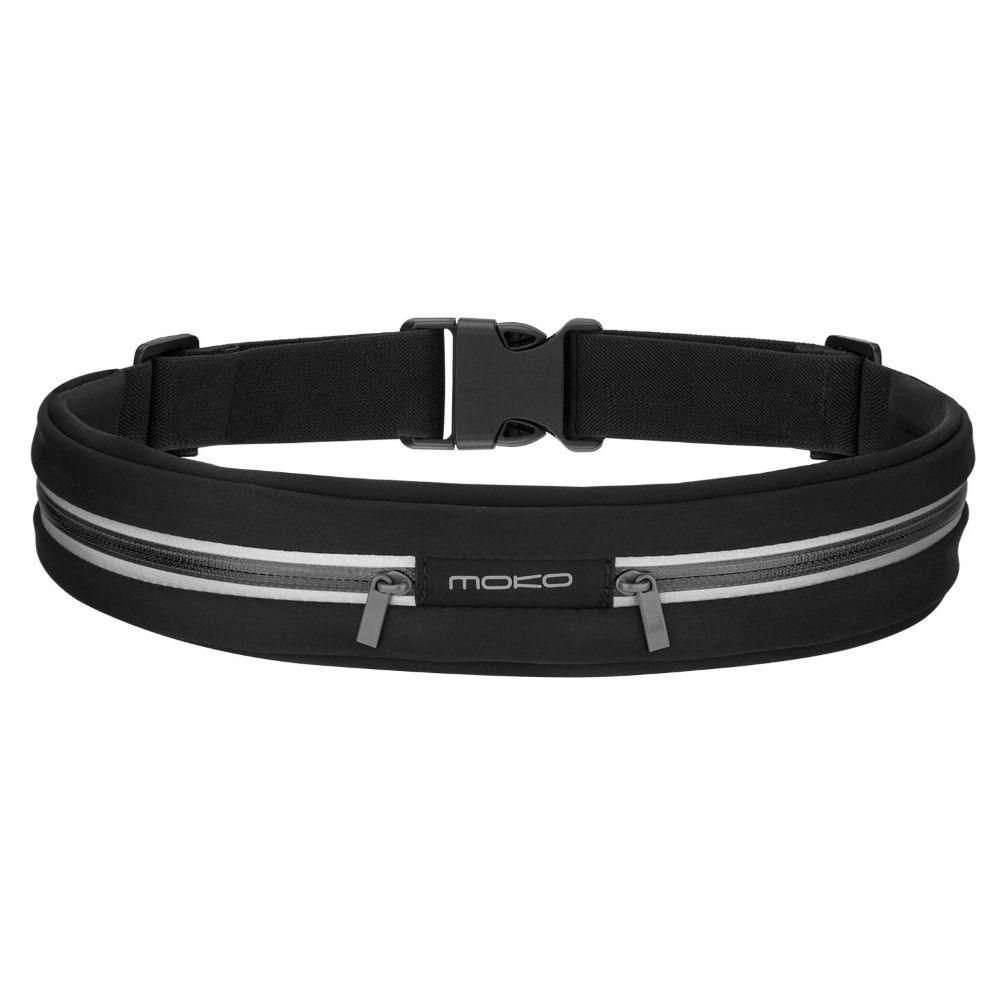 MoKo Sports sac de taille en cours d'exécution, ceinture de taille réfléchissante anti-transpiration en plein air, ceinture d'entraînement de Fitness, ceinture de coureur, sac double poche
