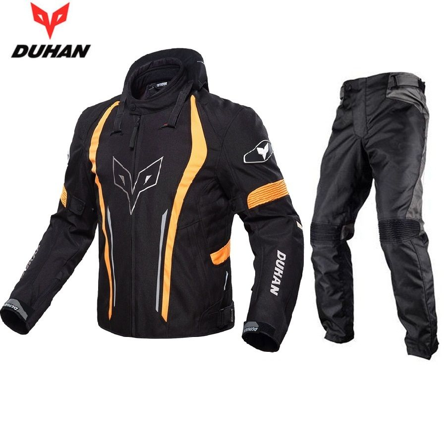 Free shipping 1set DUHAN Moto Waterproof Motocross Racing Jacket And Pants Motocross Off-Road Riding Neckguard Motorcycle Jacket