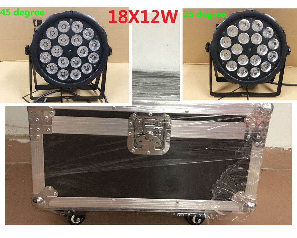 8 pz LED Par Luce 18x12 W + flightcase RGBW 4IN1 LED di Lusso DMX Led Flat Par Luci dj