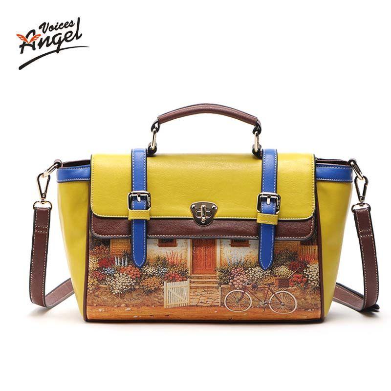 Angel Voices! marque imprimé PU sac vintage sac à main des femmes moyen grand fourre-tout sacs femme bandoulière sacs pour femmes sac à main