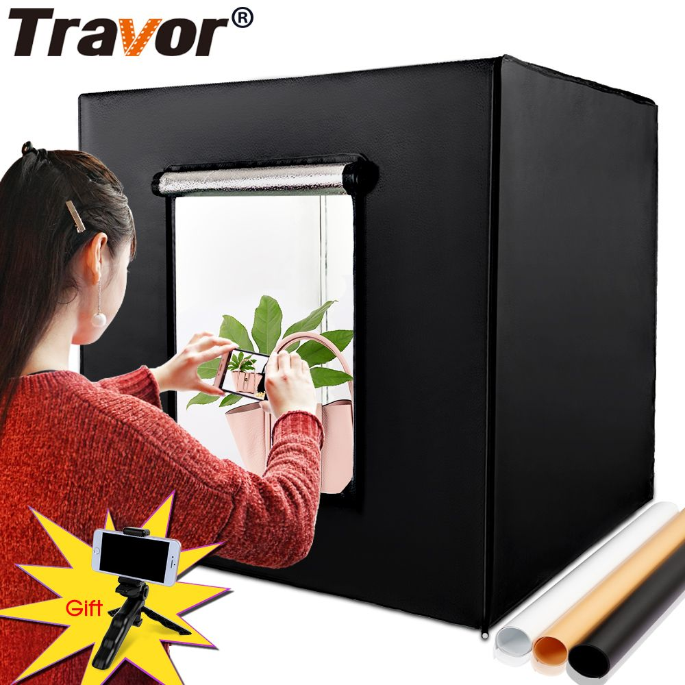 Travor M80 Lightbox Softbox Light Box 80*80CM With Three Colors Background Gift Mini Phone Tripod For Studio Photo Photography