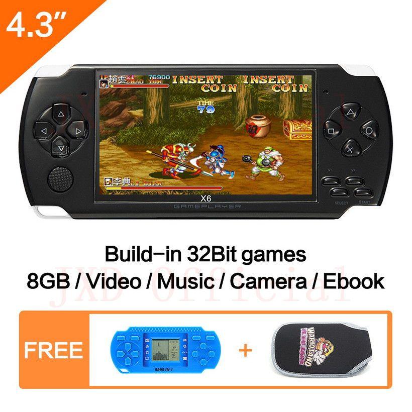 Livraison gratuite 4.3 pouces Console de jeu de poche 8GB Mp4 Mp5 fonction jeu vidéo intégré 1200 + jeux pour gba/gbc/snes/fc/smd