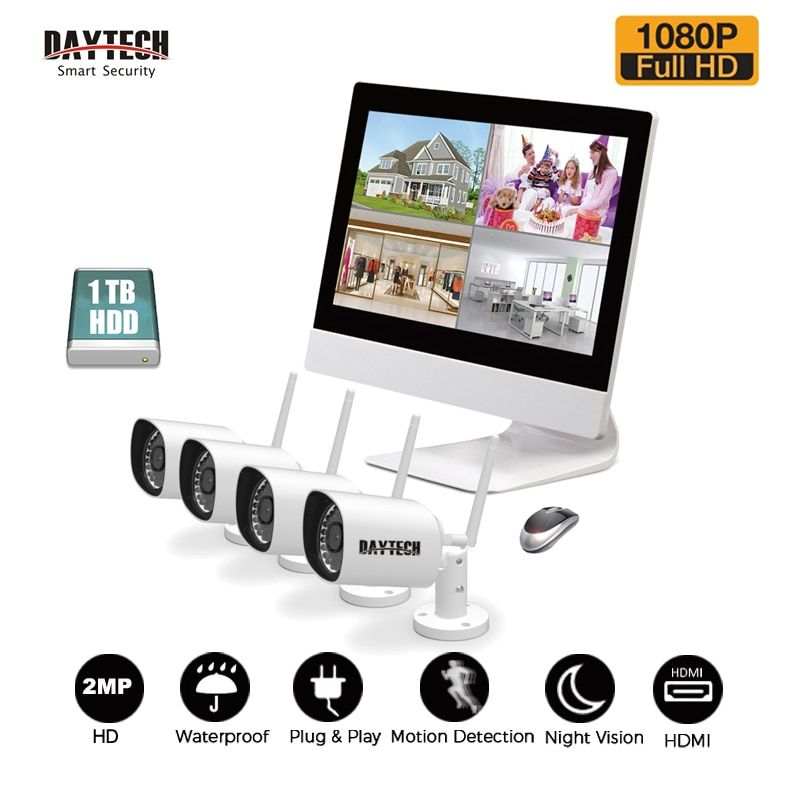 DAYTECH Surveillance System NVR Kit 1080P 2MP LCD Monitor NVR Kit HDD IR Night Vision Waterproof Wireless 4CH Security IP Camera