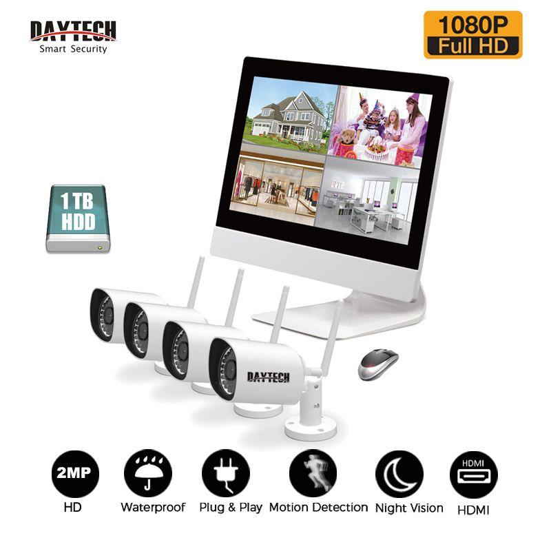 DAYTECH Surveillance System NVR Kit 1080P 2MP LCD Monitor NVR Kit HDD IR Night Vision Waterproof Wireless 4CH Security IP Camera