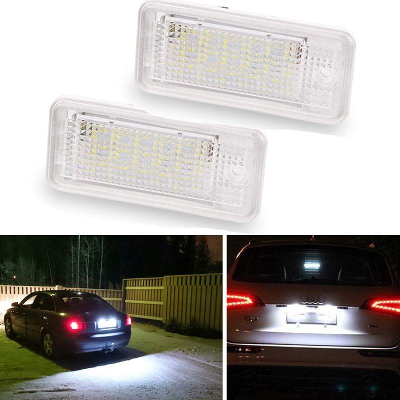 2 Stücke Weiß 3 Watt 18 SMD Led Anzahl Nummernschild Licht Led-lampe Kennzeichen Für Audi A4 A6 C6 A3 S3 S4 B6 B7 S6 A8 S8 Rs4 Rs6 Q7