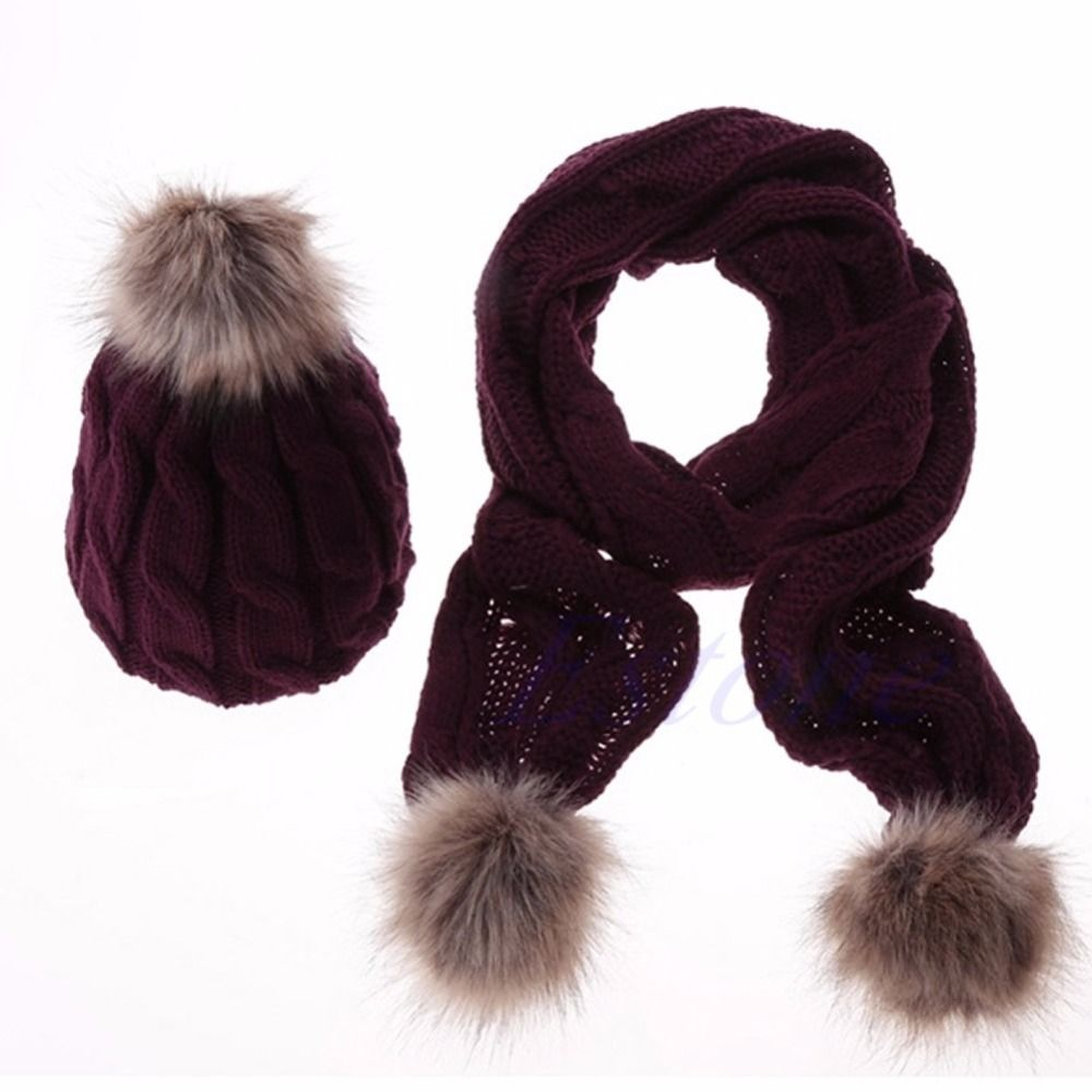 New Designer Women's Scarves and Wraps Winter Warm Women Fashion knitted Scarf and Hat Set Crochet Cap Beanie Ski Hat