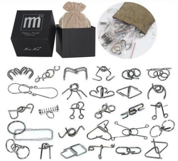 28/32PCS per Set IQ Metal Puzzle Mind Brain Teaser Magic Wire Puzzles Game Toys for Children Adults Kids