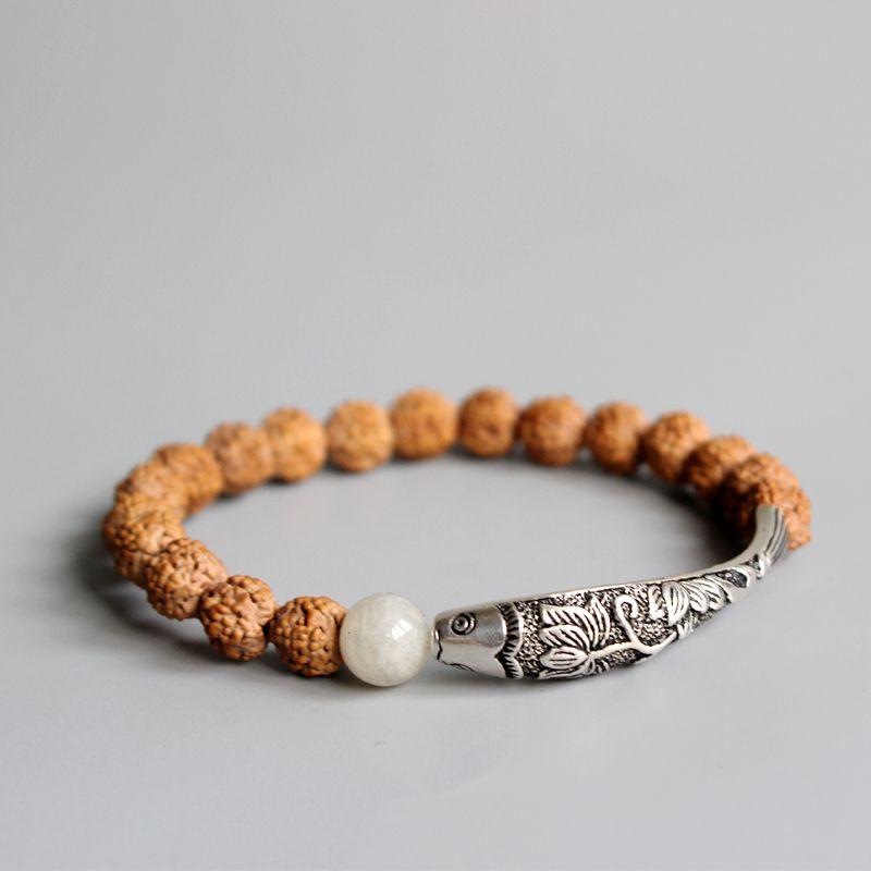 New Trend Rudraksha Seed Beads Traditional Chinese 925Silver Lotus&<font><b>Fish</b></font> Charm Bracelet For Women Ethnic Elegant Yoga OM Jewelry