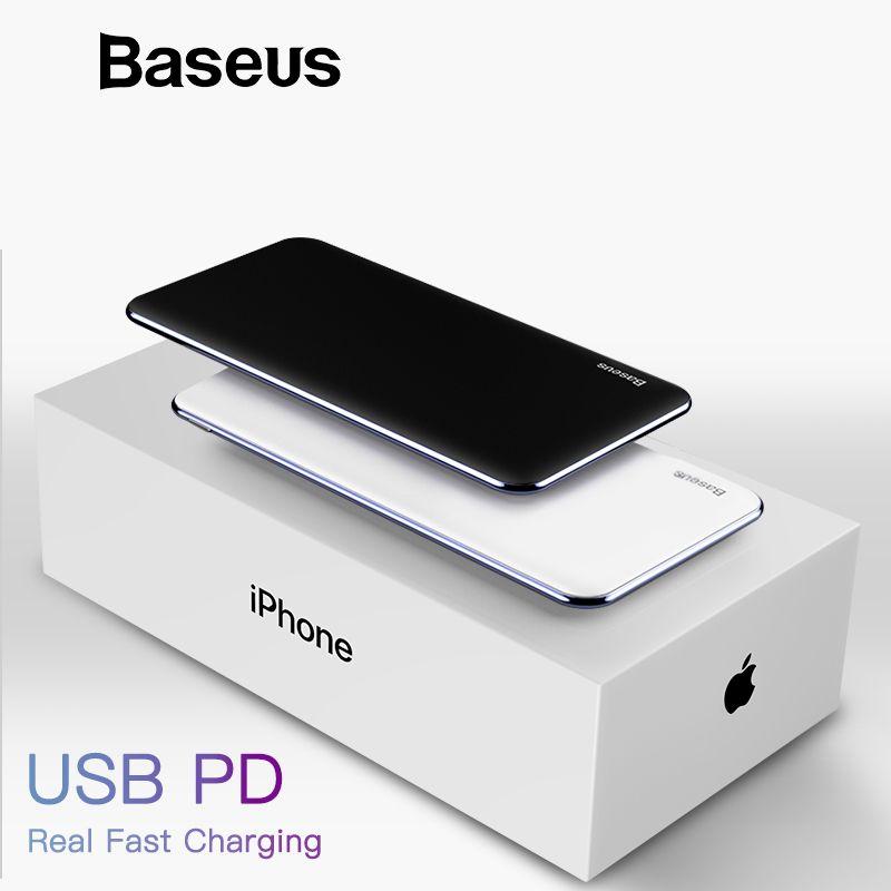 Baseus USB PD Schnelle Lade Power Bank Für iPhone Xs Xs Max XR 2018X8 8 Plus Power 3A schnell Ladung USB Typ C Power Bank