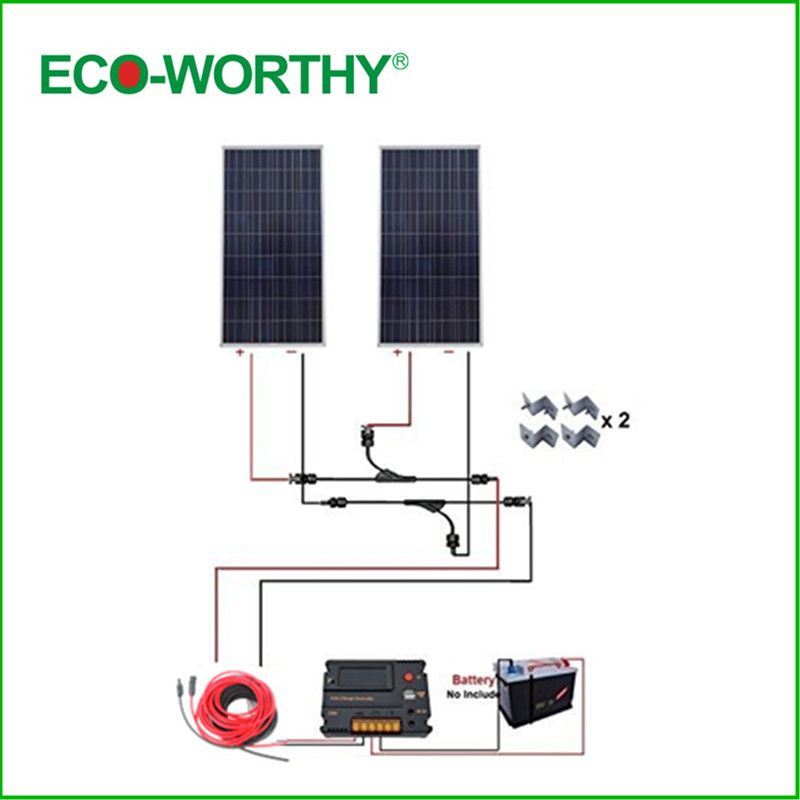 ECO-WORTHY USA UK Stock 300W 12V off Grid COMPLETE KIT: 2*160W Solar Panel w/ Temperature Reguator