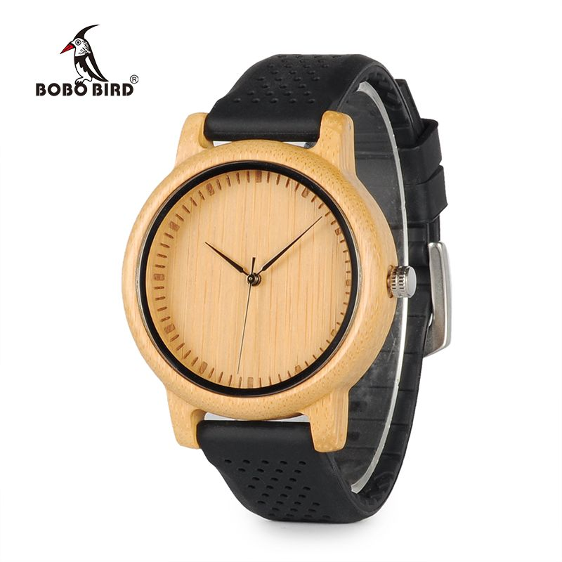 BOBO BIRD B08 Luxury Watch Ladies' Bamboo Wood Quartz Watches With Colorful Silicone Straps relojes <font><b>mujer</b></font> marca de lujo 2017
