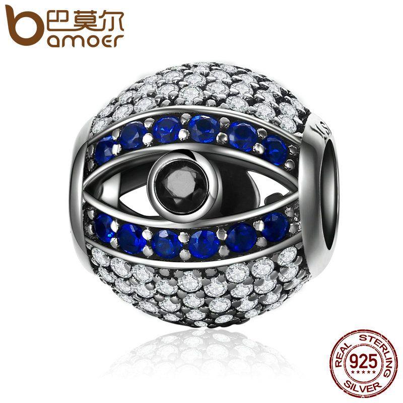 BAMOER Genuine 925 Sterling Silver Blue Eyes Eye Of Nazar Lucky Guardian Beads Charm fit Charm Bracelets Bangles Jewelry SCC172