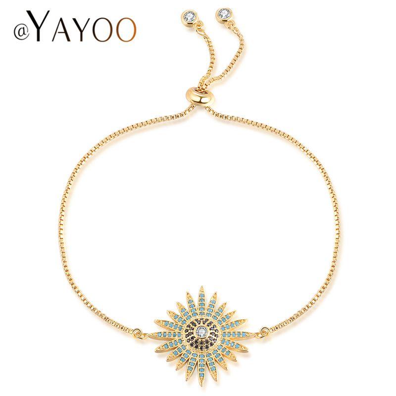 AYAYOO Bracelets & Bangles Charm Bracelets for Women Flower Wedding Bridal Evil Eye Bracelet Femme Fantaisie Jewelry Bracelet