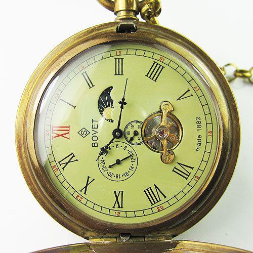Античная Двухместный Обложка Tourbillon Moonphase карманные часы