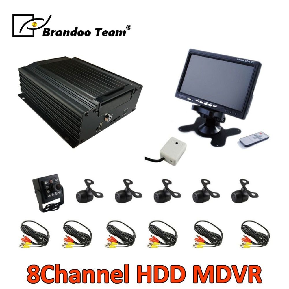 Free shipping 6 cameras Bus truck 8CH 960H HDD MDVR CAR DVR system,support Russian/English menu