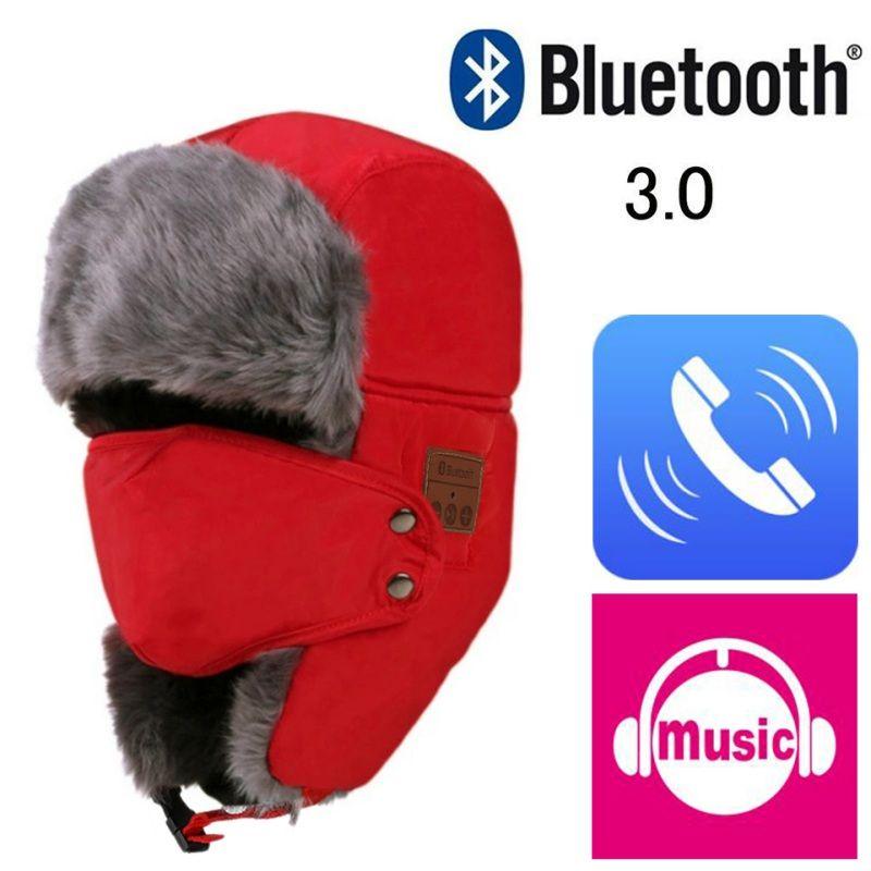 Bluetooth 3.0 Chapeau Unisexe Épaississent Chaud En Fausse Fourrure D'hiver Beanie Chapeau Sans Fil Casque Smart Cap Extérieure Plafond Souple