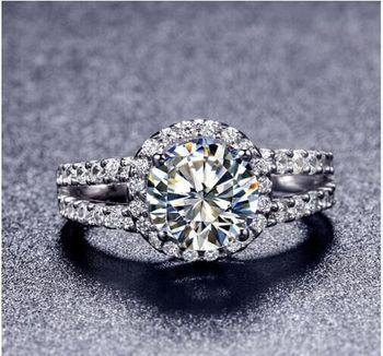 Tr009 Лидер продаж белого золота Цвет 2 карата 8 мм Сона Имитация Gem Обручение кольца, кольца для женщин Бесплатная доставка
