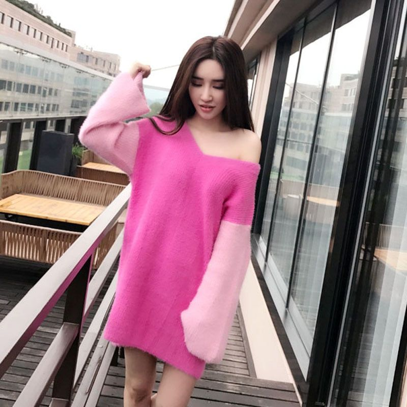 LOVELYDONKEY mink cashmere sweater women long cashmere thick pullovers knitted free shippingm1021