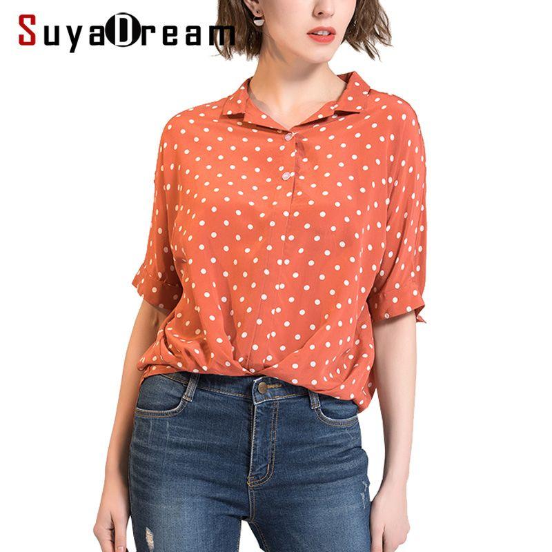 Women Silk Shirt 100%Real silk Half sleeved Dots Printed Casual T shirt Bat sleeved 2018 Spring Summer New Top shirt Red