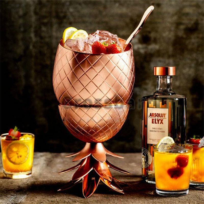 Creative Pineapple Tumbler Cocktail Cups Mugs 3 Colors (Silver,Copper,Gold) Stainless Steel Beer Cups Cocktail Drinking Bar Tool