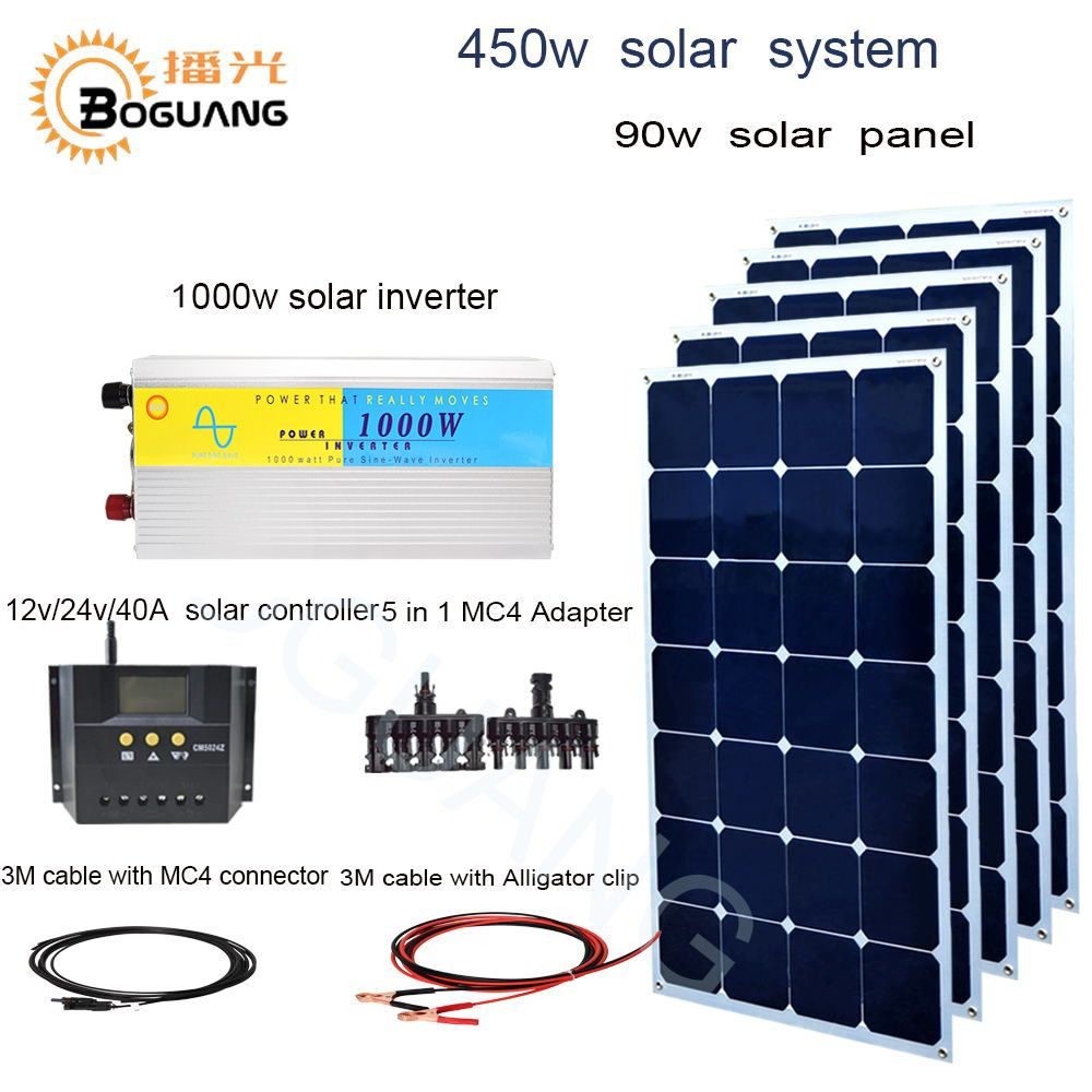 BOGUANG 450w solar system 90w Aluminum solar panel 1000w inverter 40A controller MC4 connector cable 5 in 1 adapter 12v charge