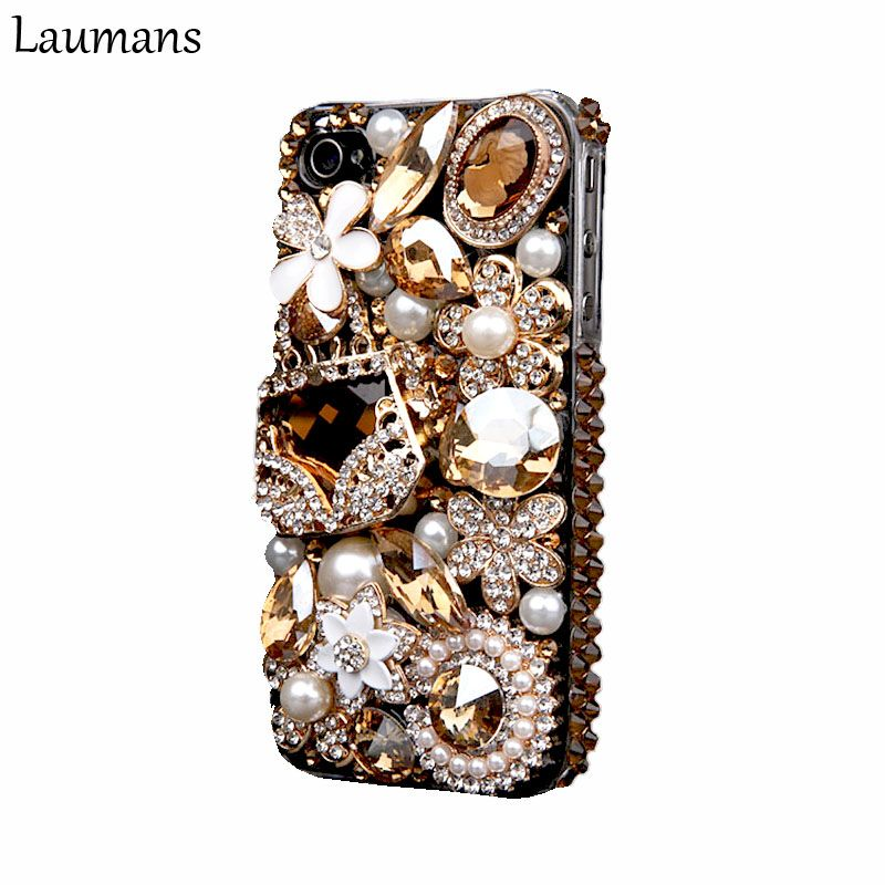 Laumans handy abdeckung für iPhone 6 6 s 7 plus Fall Bling Gold Kristall Blume Tasche Diamant Strass Abdeckung für iphone X 8 plus