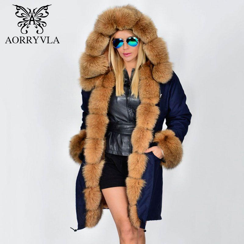 AORRYVLA Pelz Parka Für Frauen Winter 2017 Luxuriöse Echt Fox Pelzkragen Langen Mantel Mit Kapuze Starke Warme Abnehmbare Futter Dame Parka