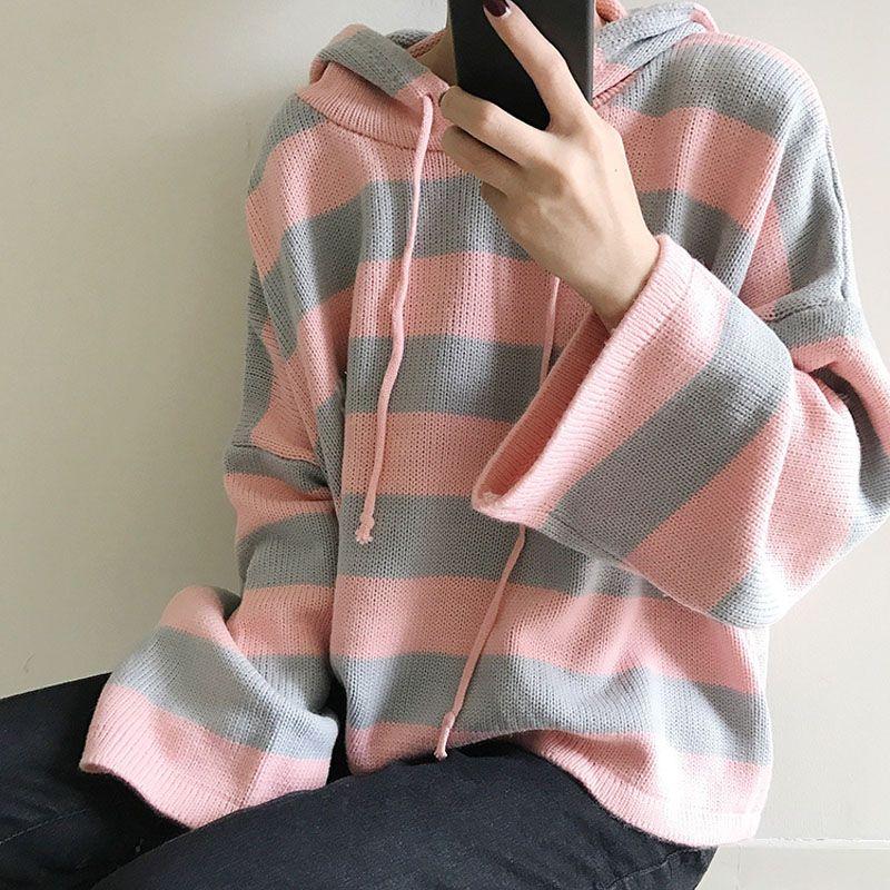 Women'S Kawaii Knitting Loose Short Design Cute Jumper Female Multicolour Stripe Hooded Korean Cardigan Sweater For Women