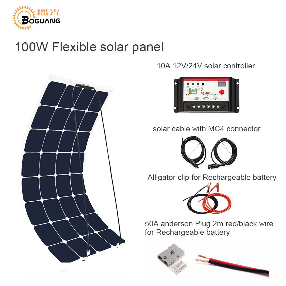 Boguang 100 W DIY RV/Marine Kits Solar System 1x 100 W flexible solar panel 12 v, 1x 10A 12 v solar controller set kabel billig.