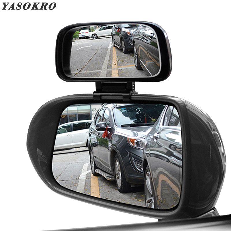 YASOKRO voiture Angle mort miroir Rotation réglable rétroviseur grand Angle lentille pour Parking voiture auxiliaire miroir