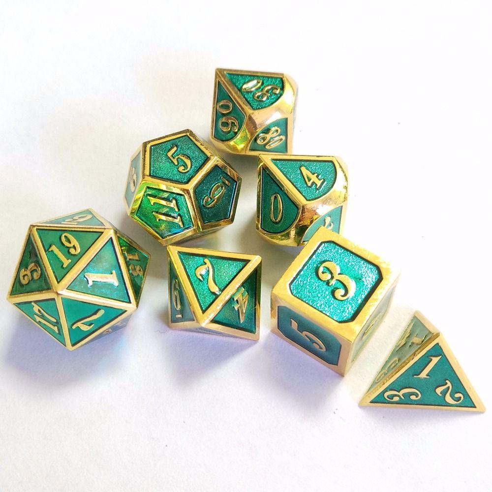 factory Outlet Dungeons & Dragons 7pcs/set Creative RPG Dice D&D Metal Dice plating transparent blue