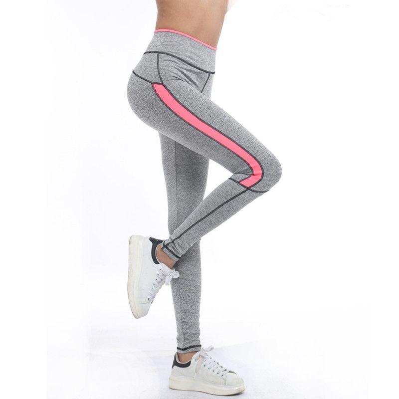 Femmes femme vêtements de sport rose Legging printemps été gris clair pantalon automne taille haute Leggins 1208 américain Original commande