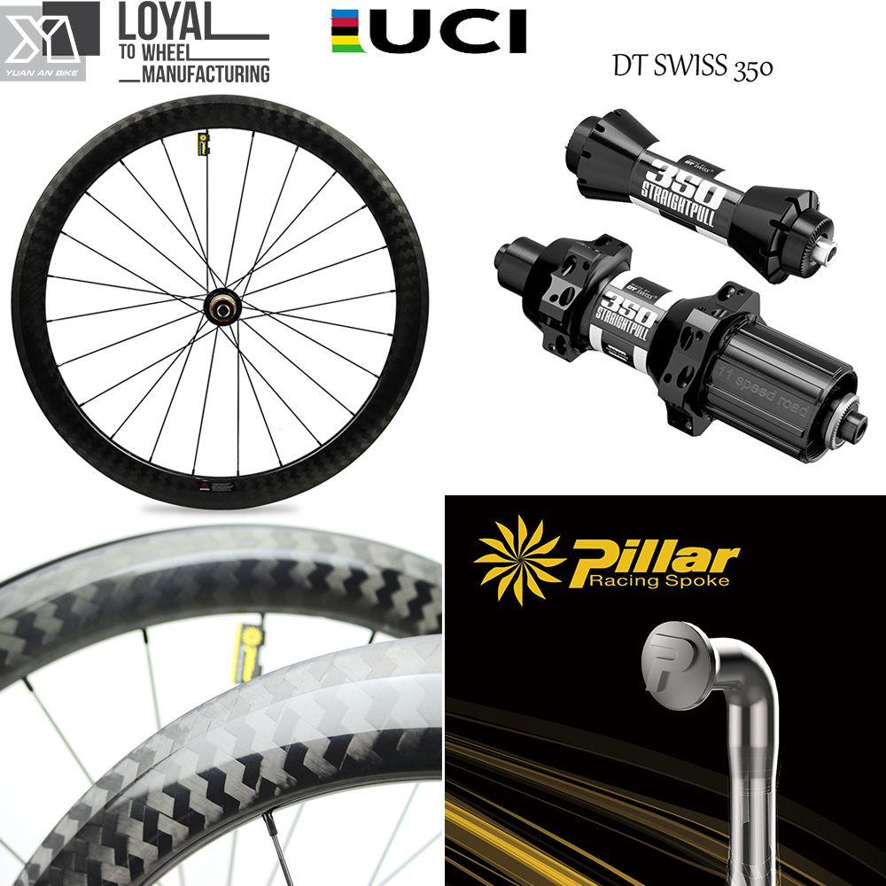 2017 Yuan'an wheelsets 25mm width 50mm depth DT SWISS 350sHub tubeless carbon road bike wheels with pillar 1432 spoke