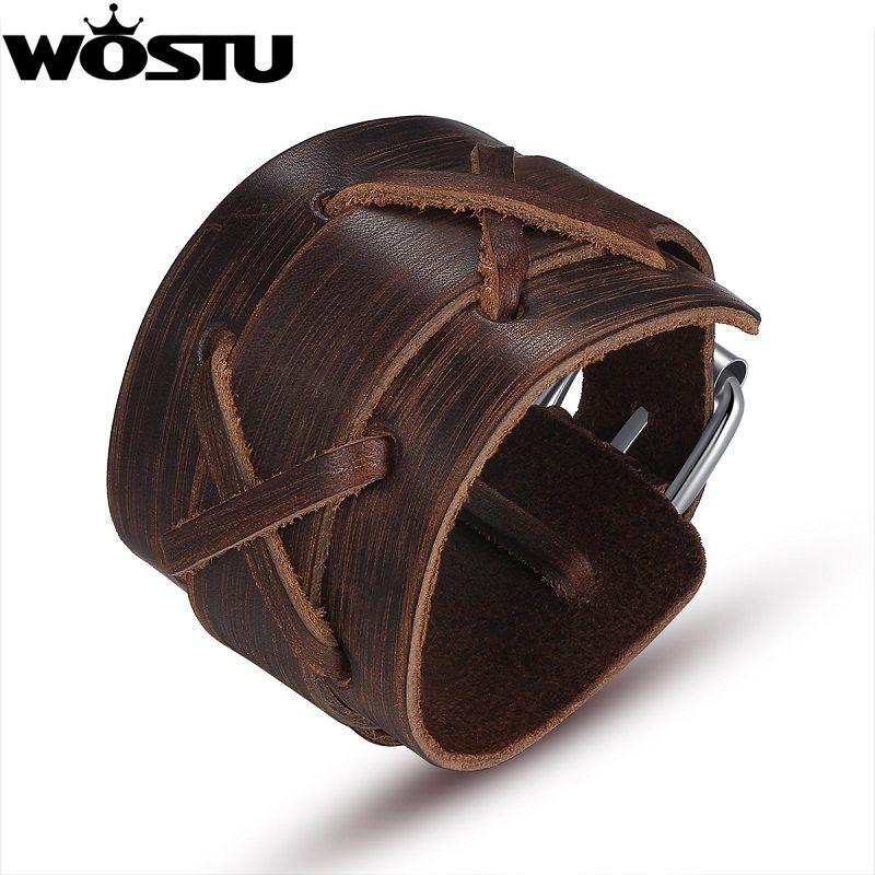 100% echtem Leder Wrap Vintage Brown Armband & Armreifen Manschette Doppel Breiten Schmuck Für Männer Frauen Unisex Geschenk XCJ0335