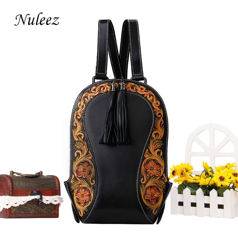 Nuleez genuine cowhide leather backpack women hand carved flower Vintage classic bag luxury high quality 2018 new