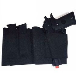 Concealed Carry Belly Band Gun Holster Under Cover Elastic Abdominal Band Pistol Holster with 2 Magazine Pouches