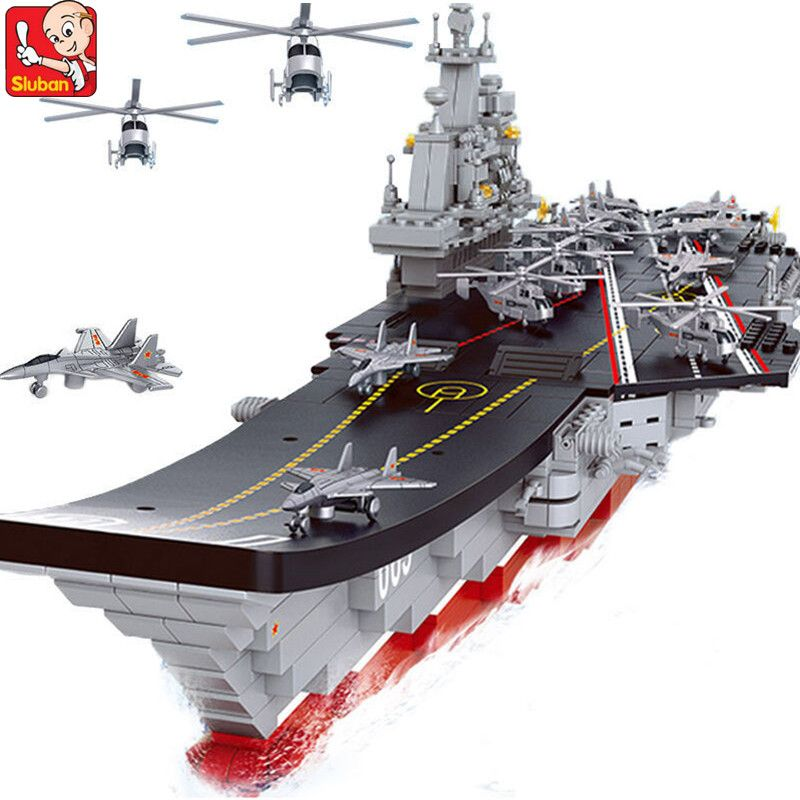 1059Pcs Military Building Blocks Sets 1:450 Carriers Aircraft Warship Helicopters Weapon Compatible LegoINGs Toys for Children