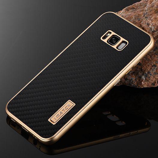 Pour Samsung Galaxy S8 Plus Cas De Luxe En Métal En Aluminium Pare-chocs couverture En Fibre De Carbone Protéger Téléphone Cas Pour Samsung Galaxy S8 cas