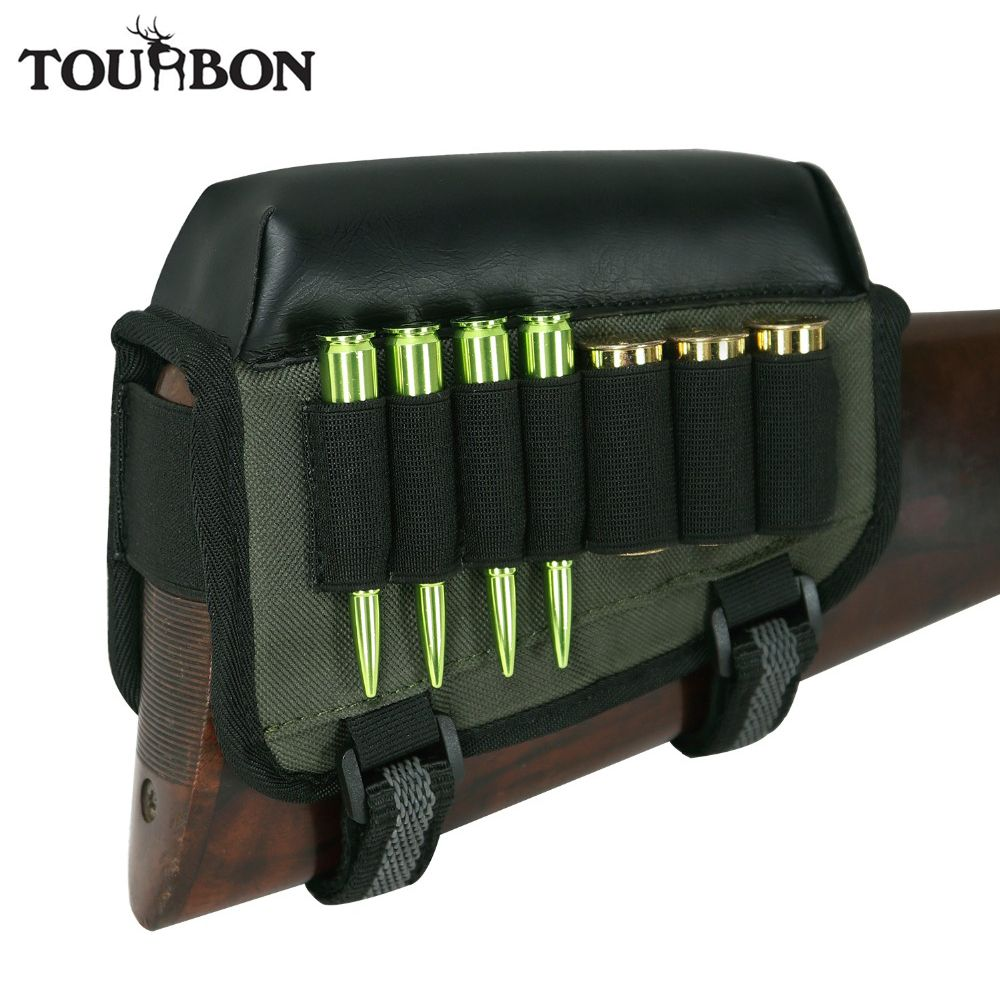 Tourbon Hunting Gun Accessorry Universal Cheek Rest Riser Pad Buttstock Rifle Shotgun Cartridges Ammo Holder Right Hand Shooting