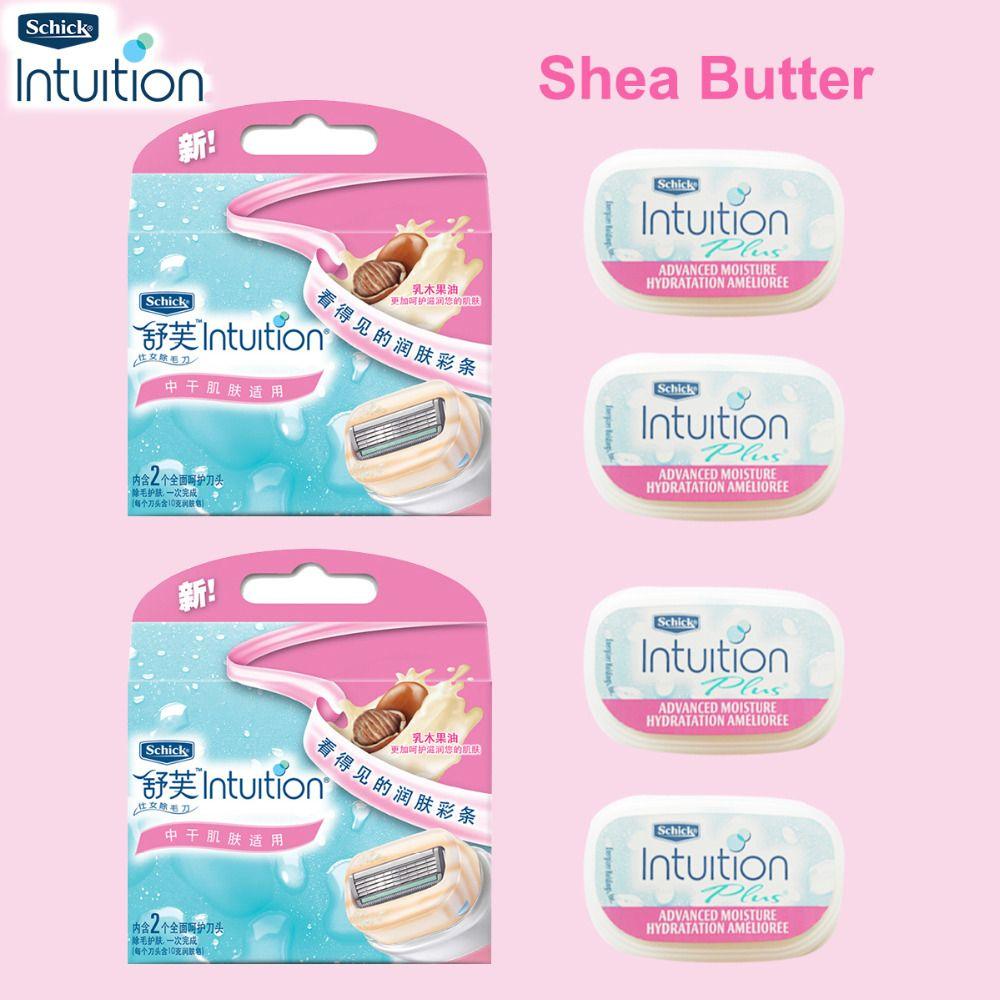 4 lames/ensemble Original Schick Intuition femmes lames de rasoir Naturals soin sensible & beurre de karité jambe bras visage sous les bras Bikini