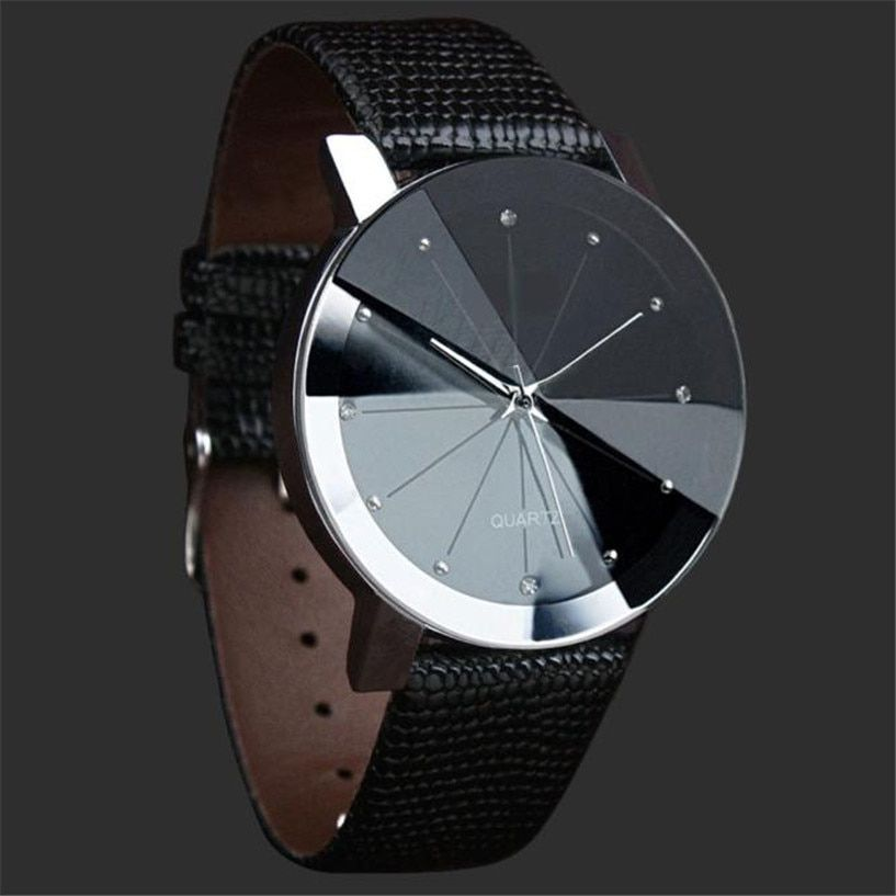 2018 Watch Men Luxury Brand Unisex Quartz Sport Military Stainless Steel Dial Leather Band WristWatch Men Women Watch Clock Gift
