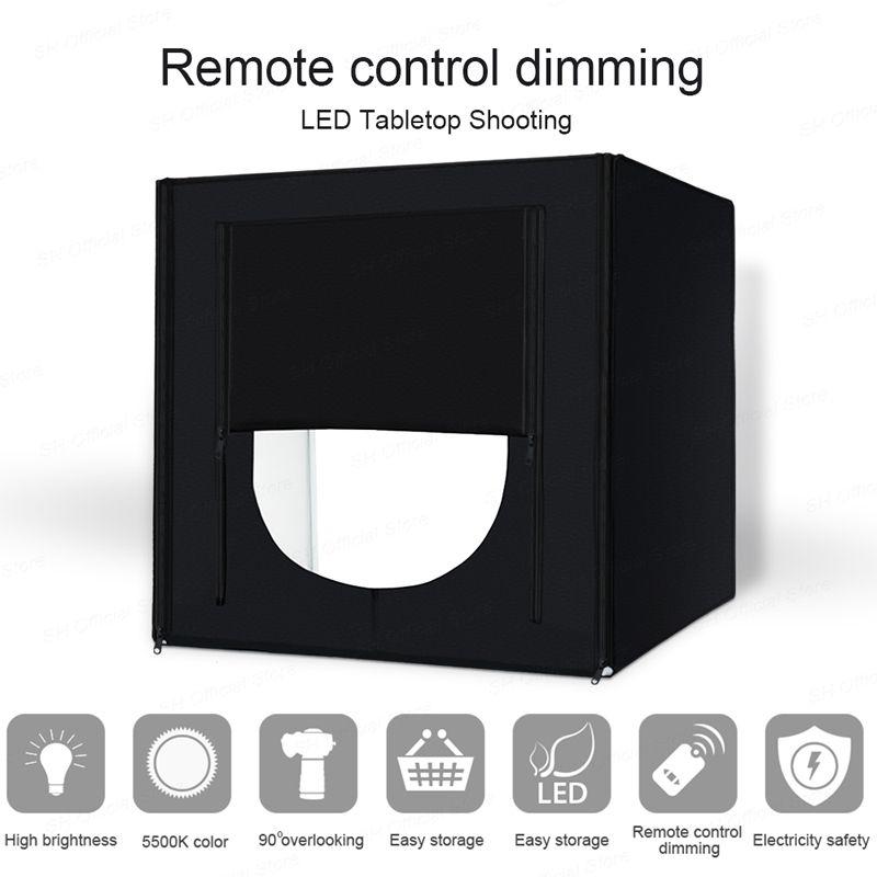 Mini Photo Studio Lightbox Tabletop Shooting Folding Studio Portable Tent 60cm Soft Box 160 LED Photography Light Kit Upgrade