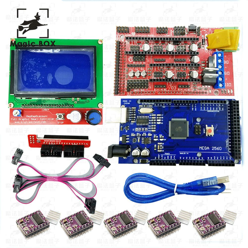 3D Printer parts kit Mega 2560 R3 + 1pcs RAMPS 1.4 Controller+ 5pcs DRV8825 Stepper Motor Drive + 1pcs LCD 12864 controller