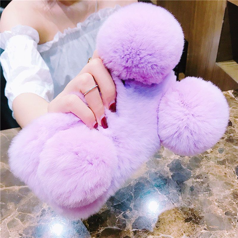 For Samsung S9 Fur Ball Gift Cover Woman Fluffy Winter Warm Wool Rabbit Hair Gift Case For Samsung Galaxy S5/6/S7/S8 edge/Plus