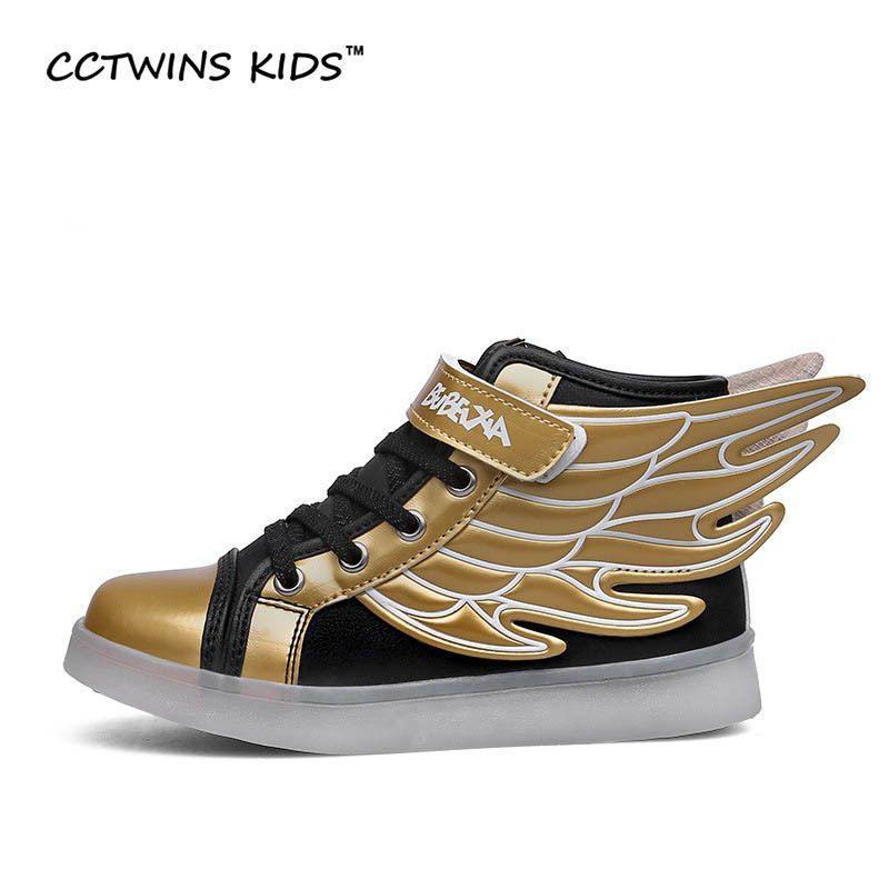 CCTWINS KIDS spring autumn children PU leather shoe girl fashion LED shoes boy Wing sneakers kids sports shoes running shoe F354
