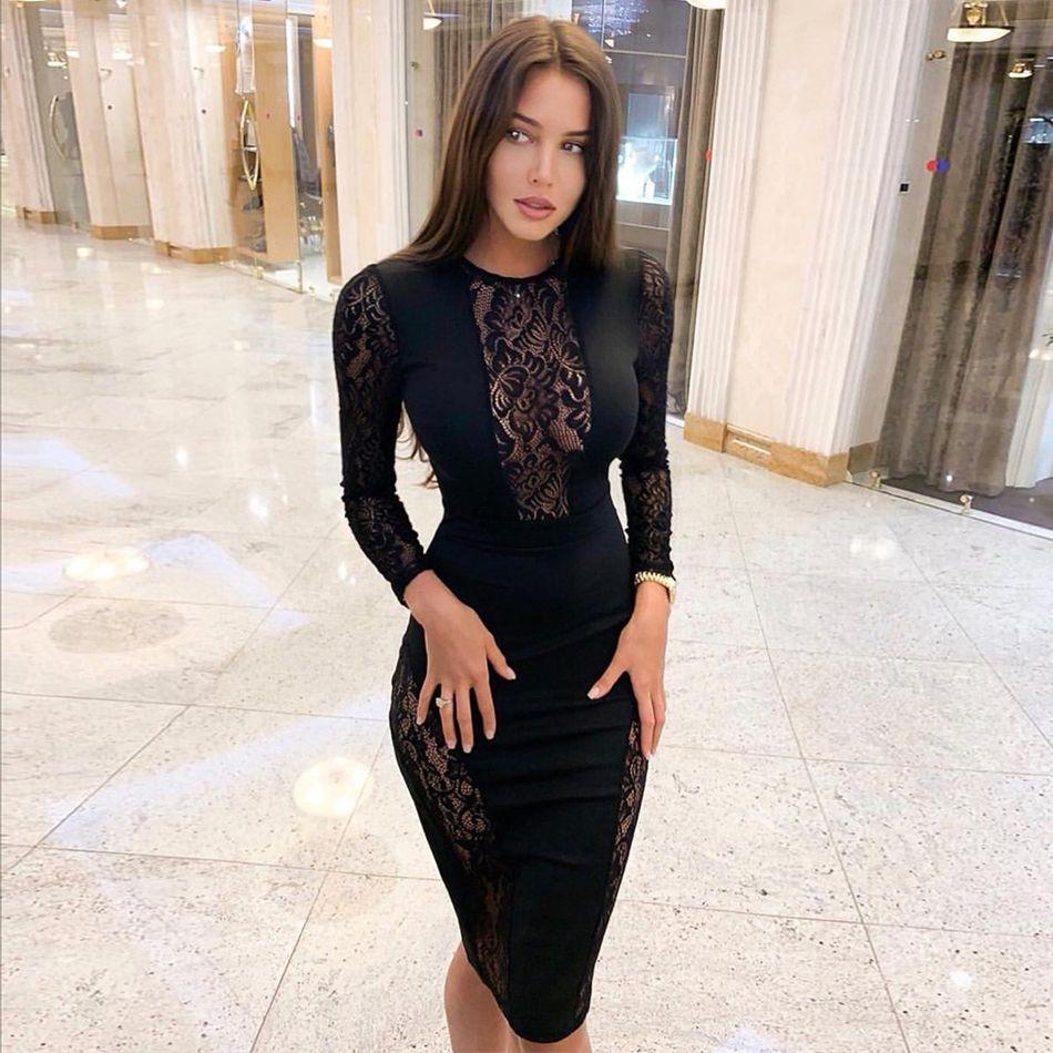 Seamyla 2019 nouvelle robe de pansement femmes Vestido noir dentelle célébrité soirée robes de soirée Sexy à manches longues moulante Midi robe de Club