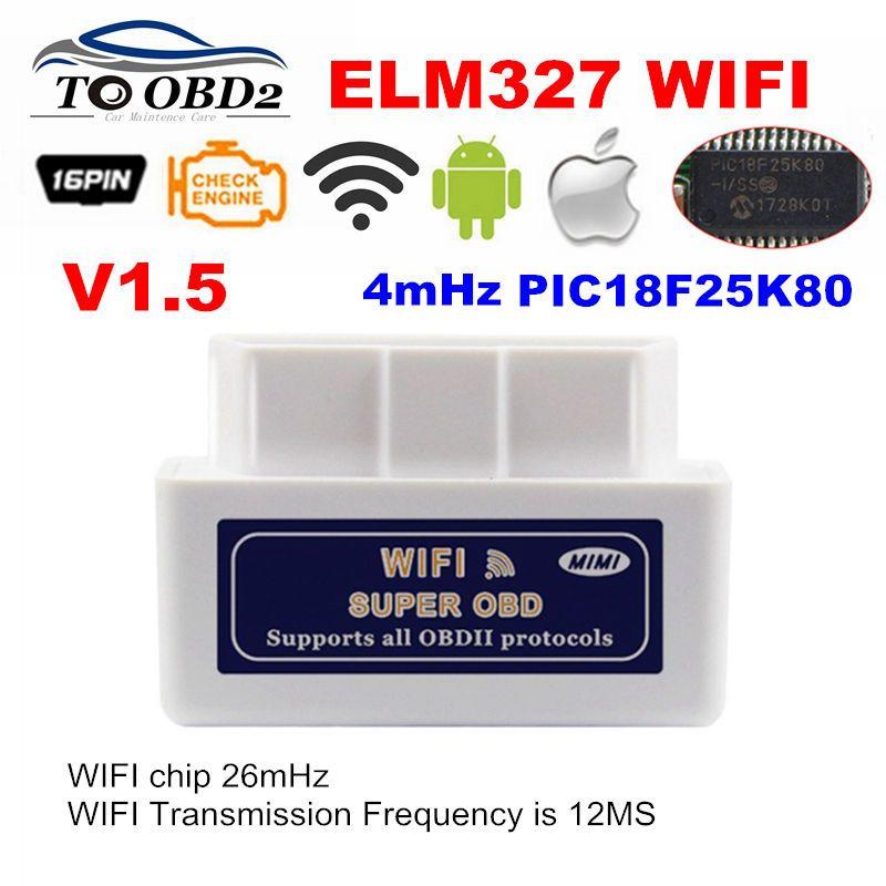 Réel PIC18F25K80 puce Super OBD2 ELM327 WIFI V1.5 matériel fonctionne Android/iOS ELM 327 fonctionne voitures Diesel 12V pas de brûlure plus