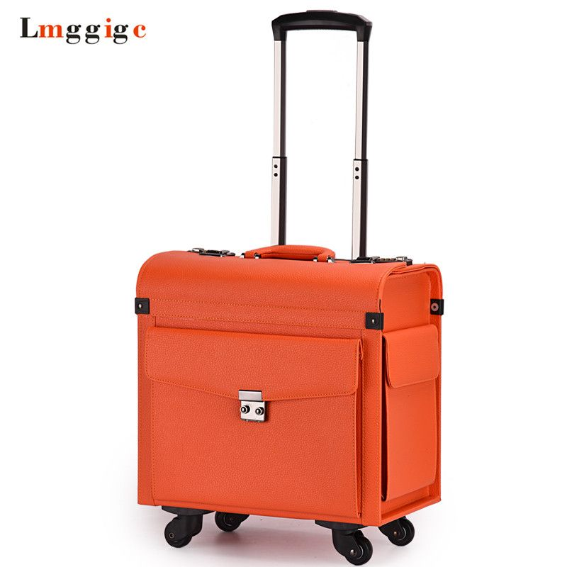 Rolling Cabin Luggage,Flight attendants Travel suitcases,Commercial computer Bag,Password Box,PU Carry-On with Universal wheels