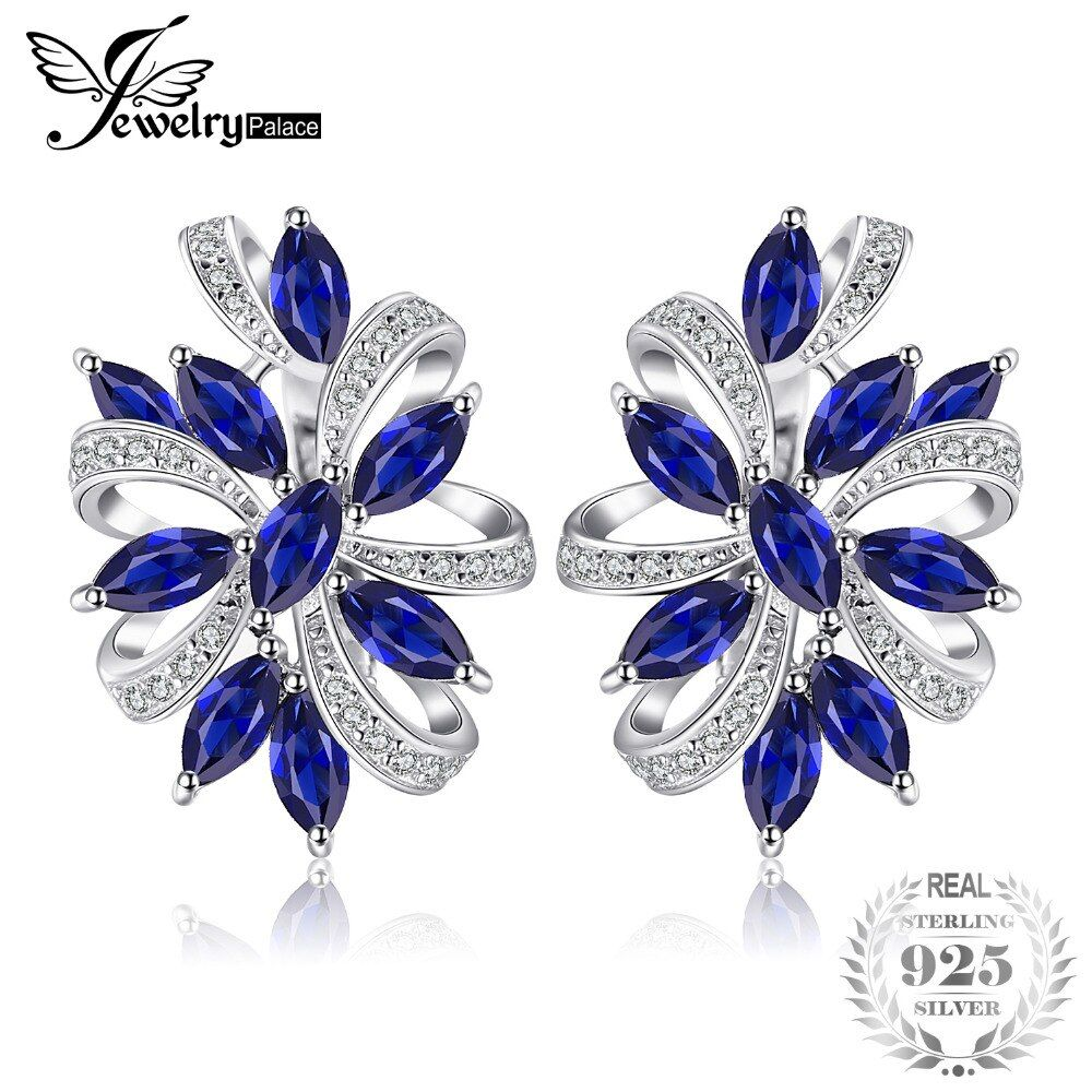 JewelryPalace Unique Design 2.1ct Created Sapphire Clip On Earrings 925 Sterling Silver Fine Jewelry For Women Gift 2018 New Hot