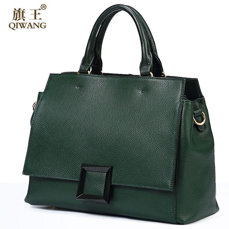 Qiwang Real Leather Bag Cow Leather Bag 100% Genuine Leather Handbag Women Luxury Cross body Elegant Famous Brand Buckle Bag
